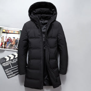 Top Quality Fashion Brand Men Down Jacket 80% Duck Down Winter Thick Long Down Coat Fashion Hooded Overcoat Male Outerwear