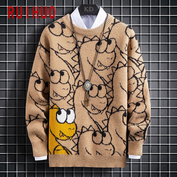 RUIHUO 2020 Autumn Cartoon Pullover Sweater For Men Coat Knit Man Sweater Clothes Korean Men's Knitted Sweater M-3XL
