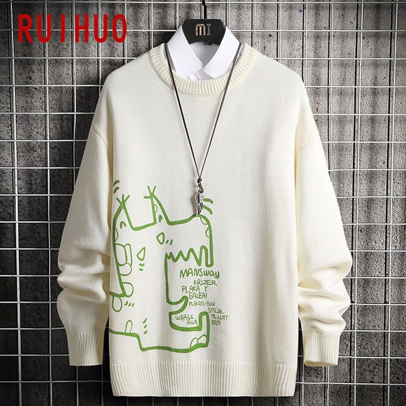 RUIHUO Cartoon Print Mens Sweater Knitted Top Pullover Men Clothing Mens Sweaters 2020 Autumn Winter New Arrival M-3XL