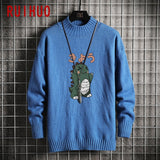 RUIHUO 2020 Autumn Winter Cartoon Dinosaur Knitted Sweater Men Clothes Pullover Men Sweater Black Men's Sweater Knit M-5XL