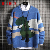 RUIHUO Cartoon Dinosaurs Knitted Sweater Men Clothing Harajuku Sweaters Pullover Men Sweater Fashion Mens Clothes M-2XL 2020