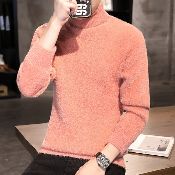 2020 Hot Autumn Winter Men's Sweater Males Turtleneck Solid Color Casual Sweater Homme Slim Fit Knitted Cotton Pullovers