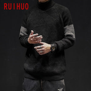 RUIHUO Patchwork Winter Turtleneck Sweater Men Coats Turtleneck Men Sweater Fashion Pullover Mens Sweaters 2020 M-3XL