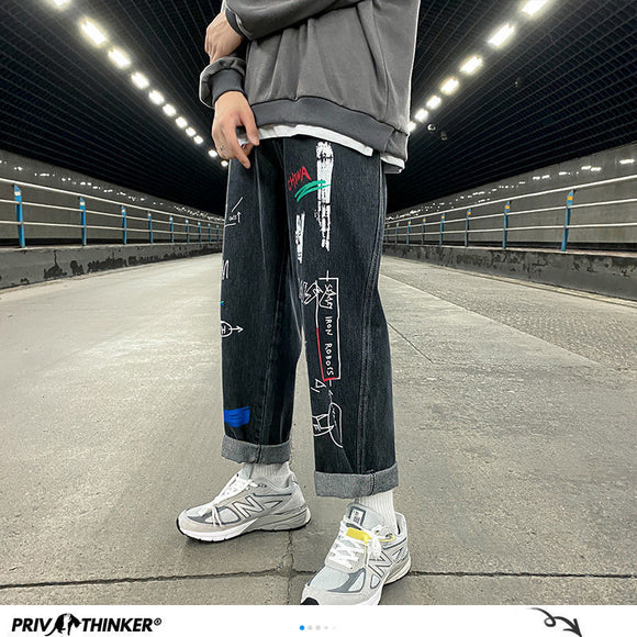 PR Man Straight Graffiti Casual Jeans Mans 2020 New Korean Collage Hip Hop Jeans Streetwear Couple Loose Denim Bottoms