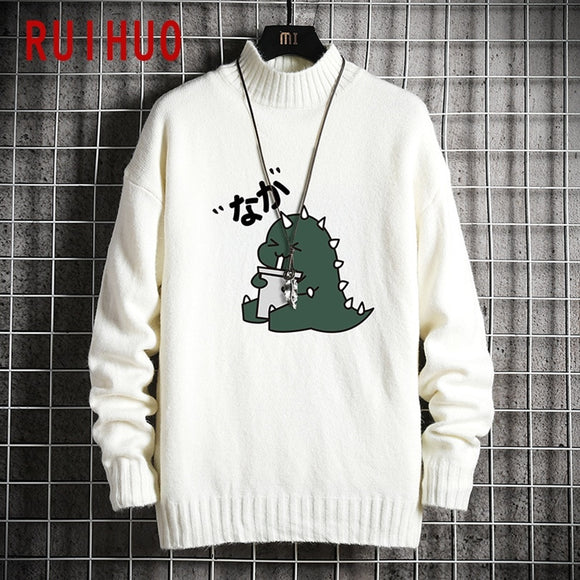 RUIHUO 2020 Autumn Winter Mock Neck Cartoon Dinosaur Knitted Sweater Men Clothes Pullover Men Sweater Black Men's Sweater Knit