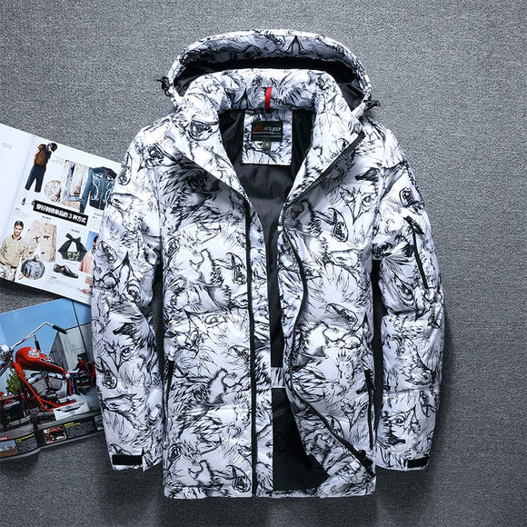 Fashion brand  winter thick white duck down men's casual down jacket coat fashion camouflage hooded down jacket white black