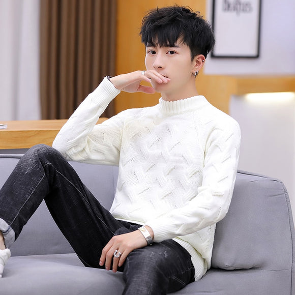 Men's sweater men's spring and autumn new casual half high neck sweater Korean style trendy personality handsome