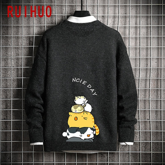 RUIHUO Cartoon Knitted Sweater Men Clothing Black Harajuku Sweaters Pullover Men Sweater Fashion Mens Clothes M-5XL 2020