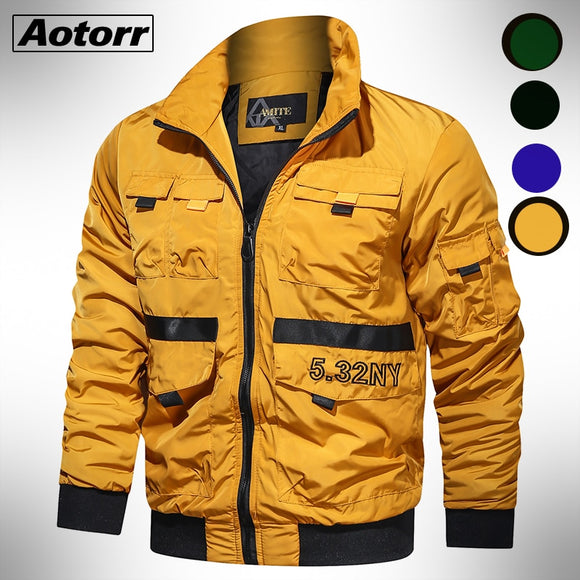 Mens Zipper Bomber Jacket Autumn Waterproof Jackets Men 2020  Fashion Army Outdoors Mele Clothing Casual Streetwear Coat 4XL