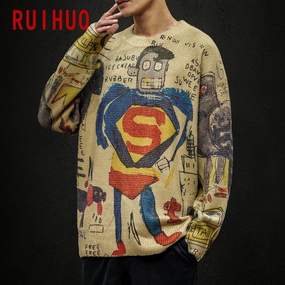 RUIHUO 2020 Autumn Winter Superman Print Knitted Sweater Men Clothes Pullover Men Sweater Casual Men's Sweater Knit M-5XL
