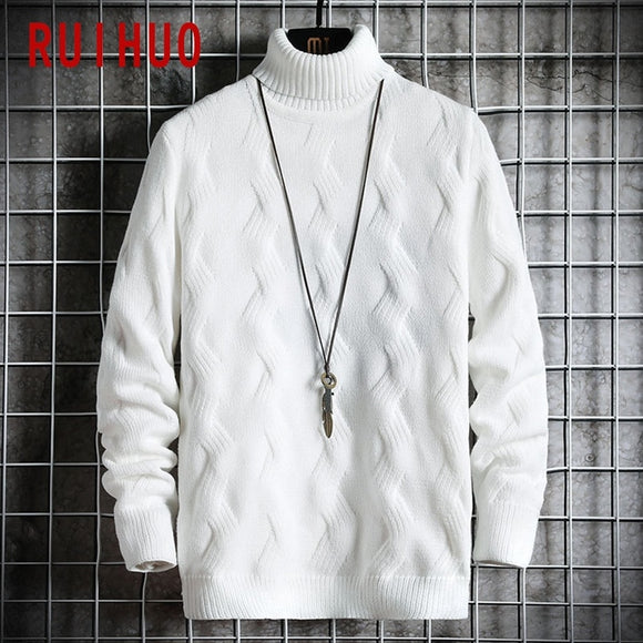 RUIHUO 2020 Winter White Pullover Turtleneck Men Clothing Turtle Neck Coats High Collar Knitted Sweater Korean Man Clothes M-2XL