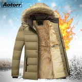 Winter Hooded Parka Men Windbreak Thick Detachable Fur Coats Male Jacket Men's Snow Parka Outerwear  Wool Liner Father Coat