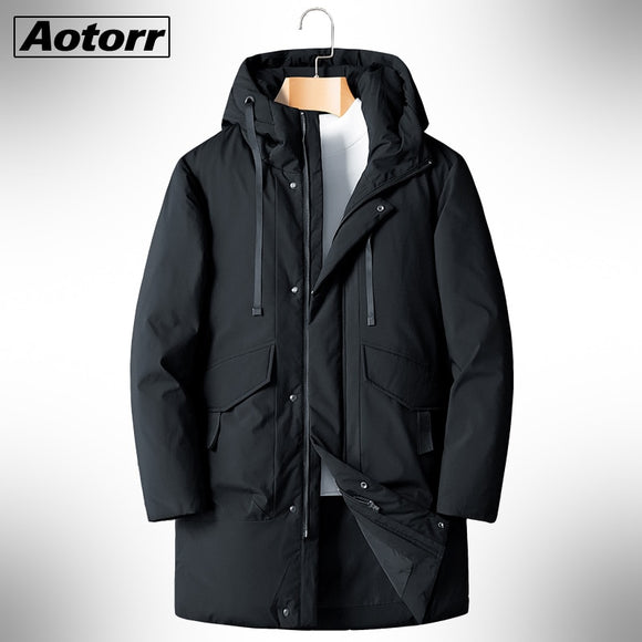Winter 90% White Duck Down Coat Men 2020  Hooded Fashion High Quality Long Thicken Warm Down Jacket Black Overcoat Parkas 8XL