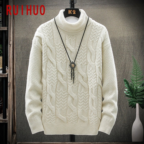 RUIHUO White Knitted Turtleneck Sweater Men Clothing Turtleneck Men Sweater Fashion Pullover Mens Clothes Sweaters M-3XL