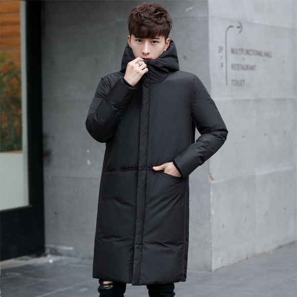 New Long Thick Winter Men's White Down Jacket Brand Clothing Hooded Black Gary Long Warm White Duck Down Coat Male Coats