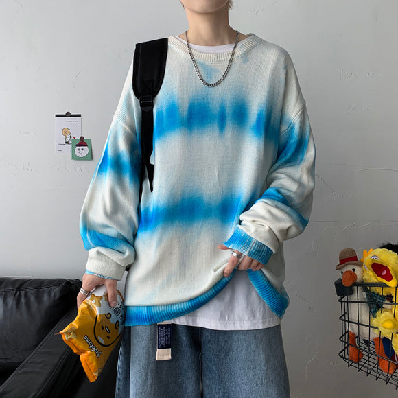 Privathinker Men's Tie Dye Long Sleeve Sweater Woman Stripe Casual Oversize Pullovers Korean Streetwear Male Sweater Clothing