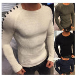 Men's Long Sleeve Bottoming Shirts Sweaters O-neck Personality Sleeve Jacquard Slim Knitted Pullover Male Clothes Spring Autumn