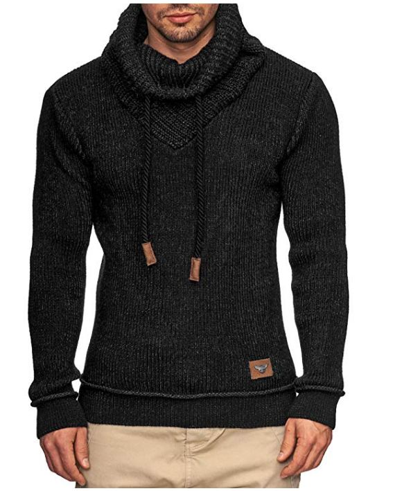 Turtleneck Sweater Mens Fashion Knitted Top Pile Of High Collar Drawstring Design Pullover Warm Slim Sweaters Male Autumn Winter