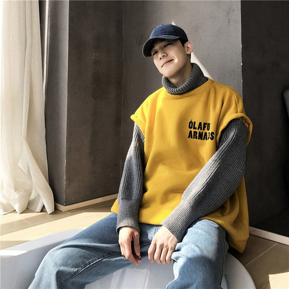 Stitching Turtleneck Sweater Men Fake Two-piece Long Sleeve Pullover Loose Casual Lantern Sleeve Clothes Warm Autumn Winter