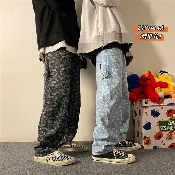 Men's graphic Printing Summer Straight Jeans Man 2021 Korean Fashion Hip Hop Jeans Joggers Male Loose Denim Pants Clothing