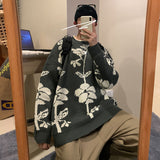 Autumn Winter Round Neck Sweater Men's Retro Chinese Bouquet Silhouette Pattern Fashion Loose All-match Pullover Men Clothes