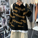 Autumn Winter Sweater Men's Thicken Knitted Loose Loose Lazy Style Printed Letter Bottoming Tops Round Neck Men's Clothes