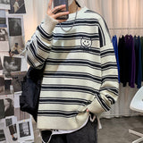 Privathinker Man Stripe Smile Face Embroidered Graphic Sweater Autumn Winter New Woman Korean Streetwear Pullovers Warm Clothing
