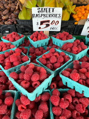 Fresh Raspberries from local farmers.  Tropic of Culinary makes Pikes Place Market come alive in your kitchen! Tropic of Culinary Seattle Restaurant Delivery Service is a Living Food Magazine from Top Chef Ty-Lör Boring.