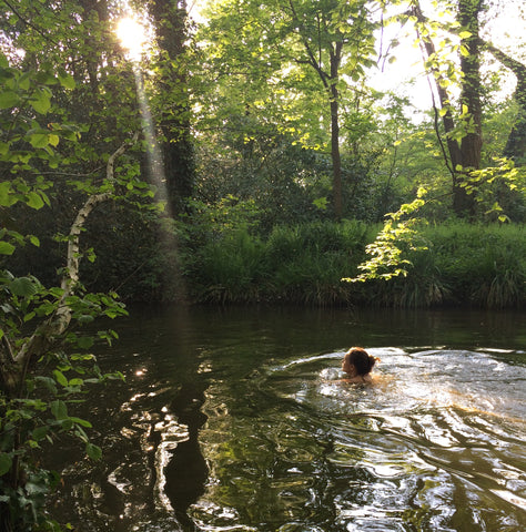Flora Jamieson cold water wild swimming in a British river