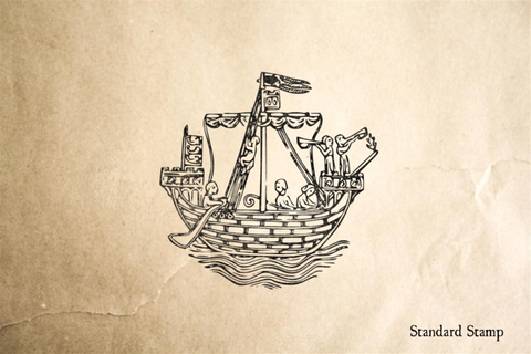 1284 AD Ship Woodcut Rubber Stamp