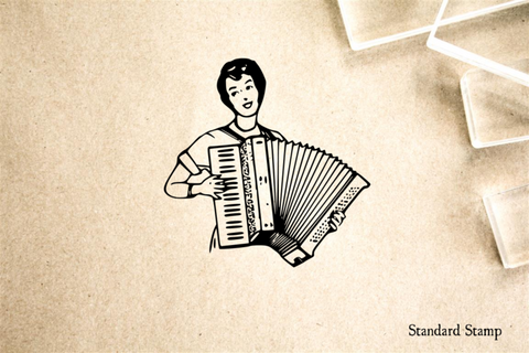 Accordion Player Rubber Stamp