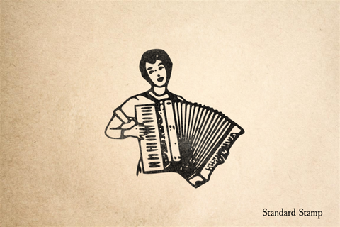 Accordian Player Rubber Stamp