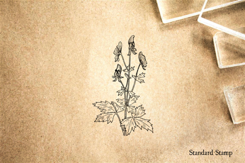Aconite Plant Rubber Stamp