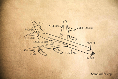 Airplane Diagram Rubber Stamp