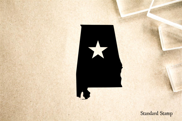 Alabama with Star Rubber Stamp