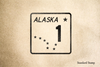 Alaska Highway 1 Rubber Stamp
