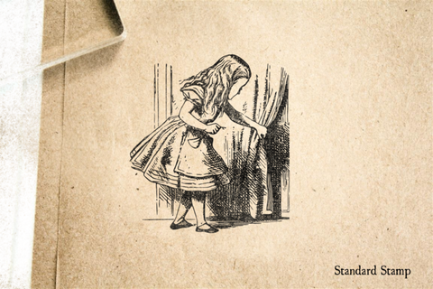 Alice Behind Curtain Rubber Stamp