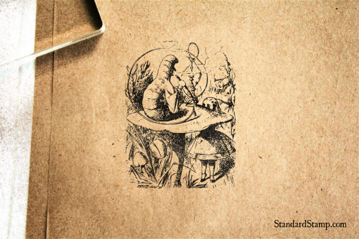 Alice Meets Caterpillar Rubber Stamp