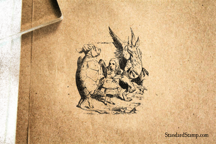 Alice with Griffin and Mock Turtle Rubber Stamp