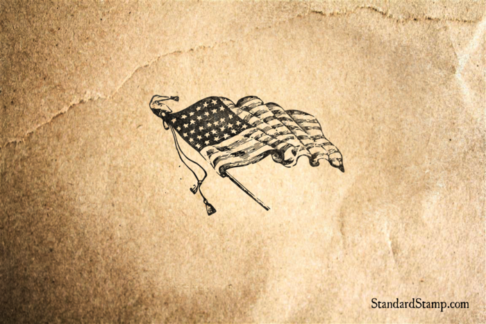 American Flag Waving Rubber Stamp