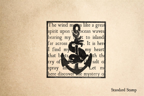 Anchor on Seashore Text Rubber Stamp