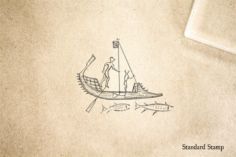 Ancient Fishermen Rubber Stamp