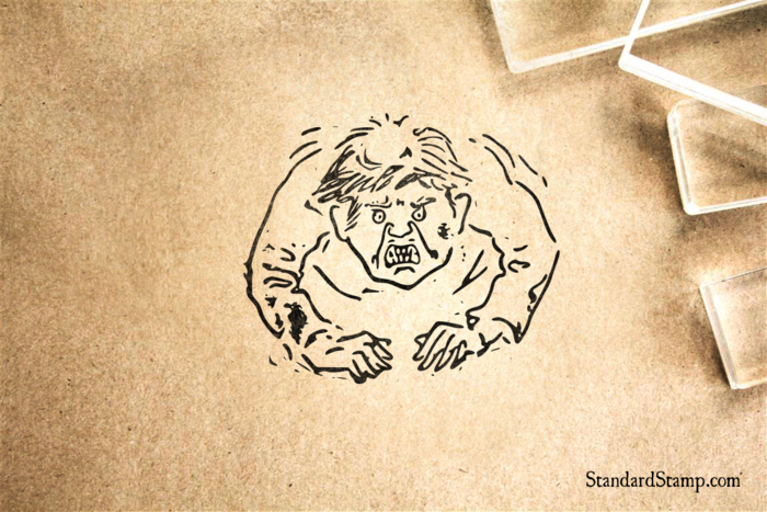 Angry Man Rubber Stamp