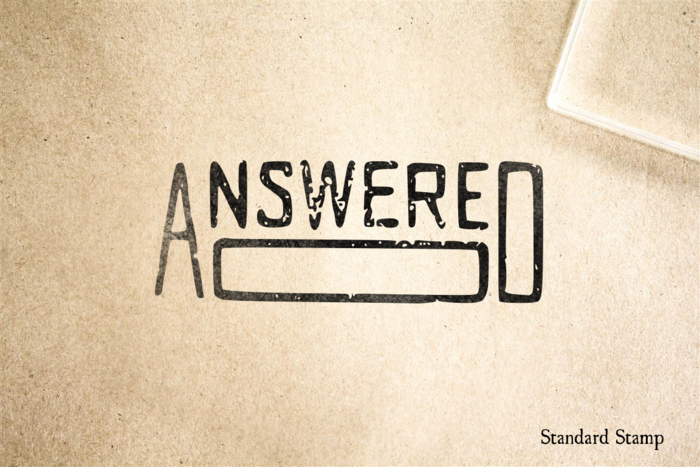 Answered Rubber Stamp
