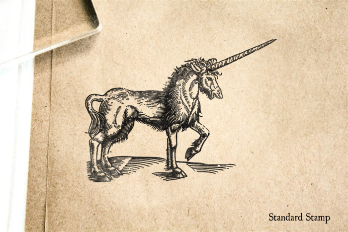 Antique Unicorn Rubber Stamp