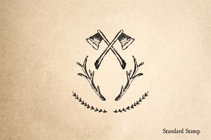 Antlers and Ax Crest Rubber Stamp