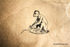 Ape Sitting Rubber Stamp