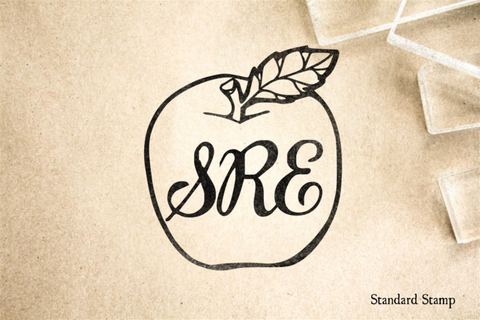 Apple Monogram Rubber Stamp