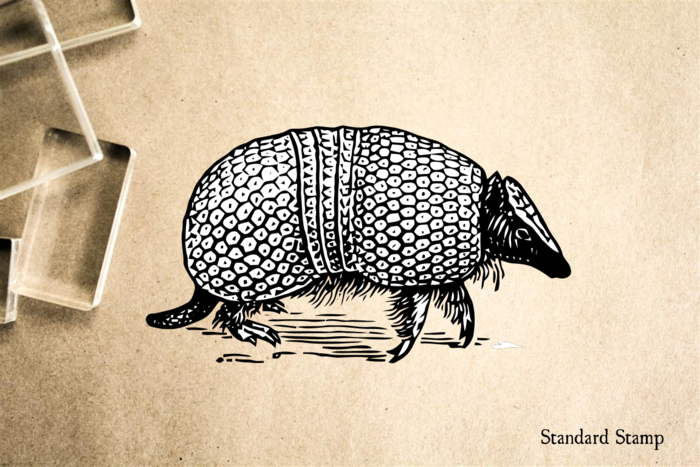 Armadillo Realistic Profile Rubber Stamp