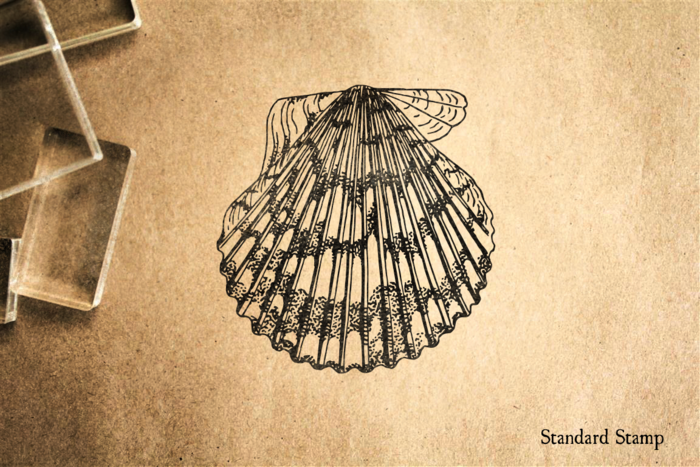 Asymmetrical Scallop Shell Rubber Stamp